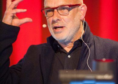 Brian Eno delivers a lecture at the George Square Lecture Theatre at Edinburgh University
