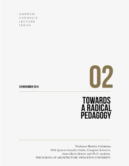 Prof Beatriz Colomina: Towards a Radical Pedagogy book cover